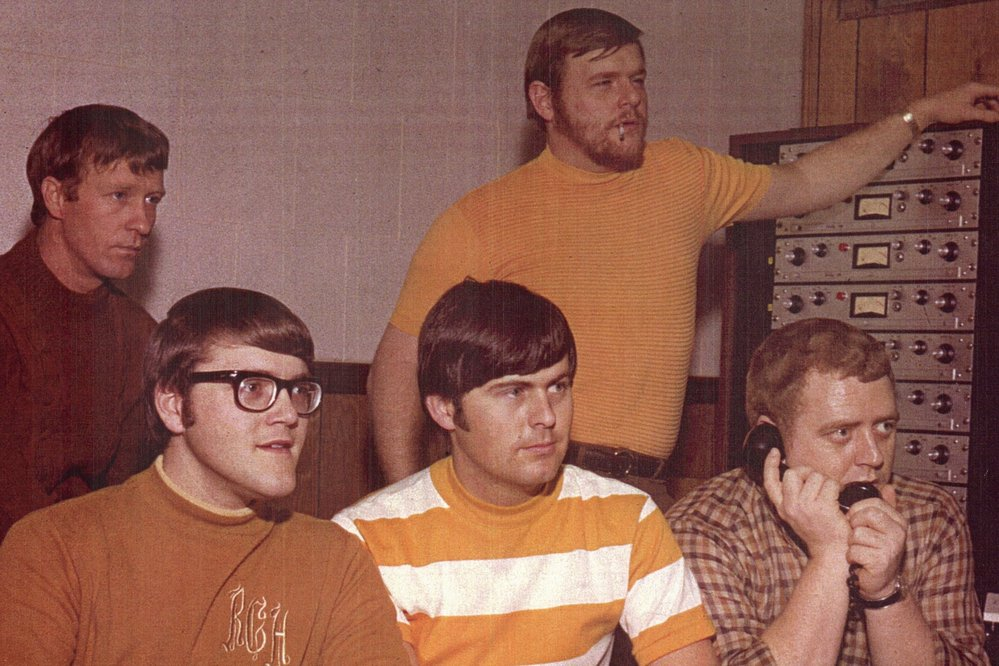Junior Lowe, Roger Hawkins, David Hood, Barry Beckett and Jimmy Johnson at FAME Studios, c. 1967. (Photo courtesy of Jimmy Johnson.)
